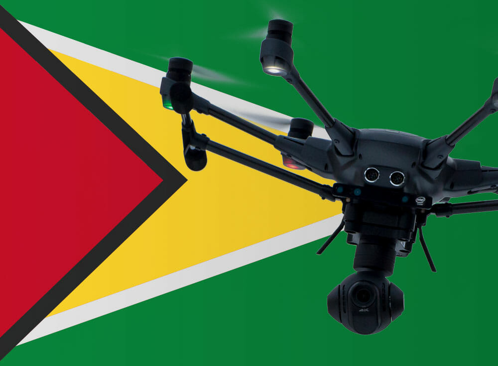 Flying drones in Guyana