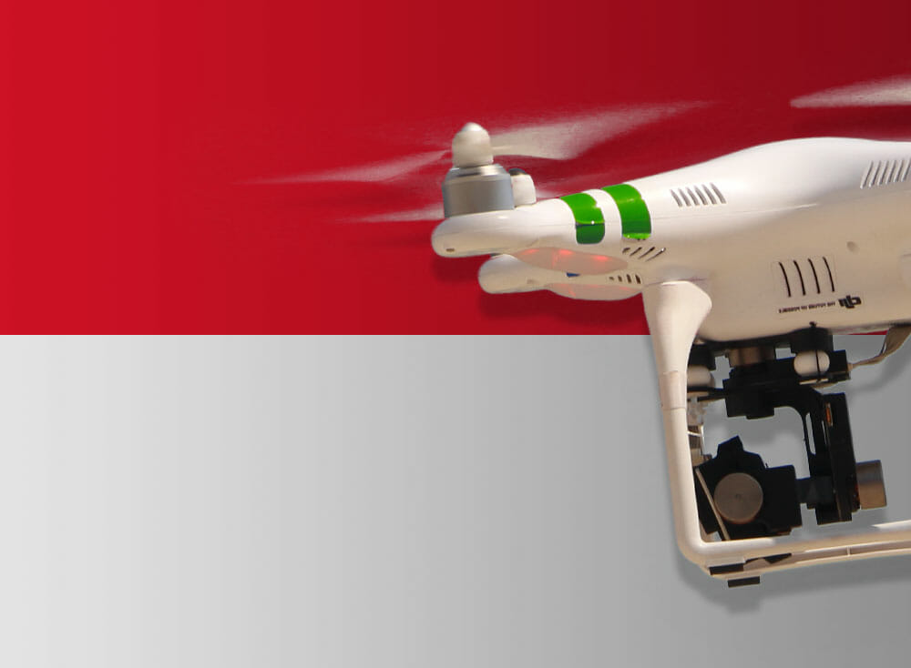 Flying drones in Indonesia