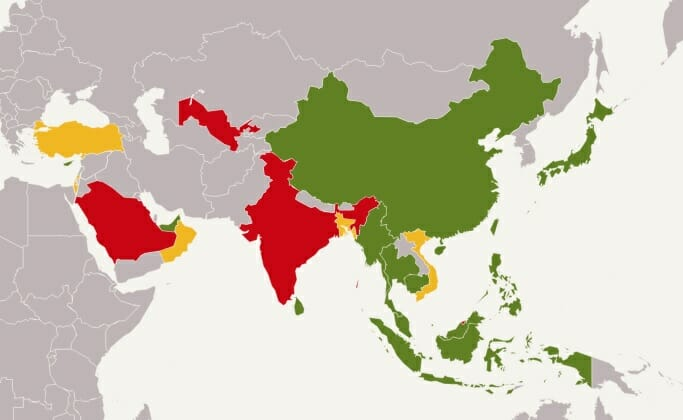 Drone Regulations In Asia Drone Traveller - Drone ban map